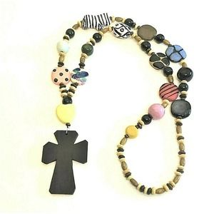 Statement Necklace Colorful Beads + Cross